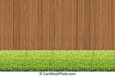 Grass lawn and brown wooden fence. Spring background.