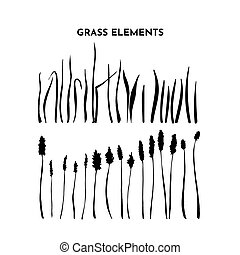 Grass silhouettes set. Wild spikelet collection. Hand drawing of meadow herbs or field plants. Black contour isolated on white. Vector sketch
