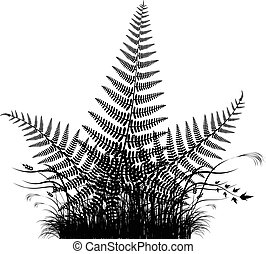 Grass vector silhouette with fern leaves
