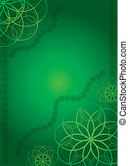 Green abstract background with curls, vector illustration