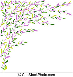 Green and lilac leaves border. Abstract floral background
