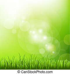 Green Background With Blur And Grass, Vector Illustration