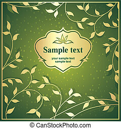 green background with gold frame