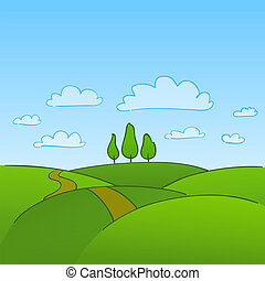 Greenish Grass and countryside hills with trees on horizon
