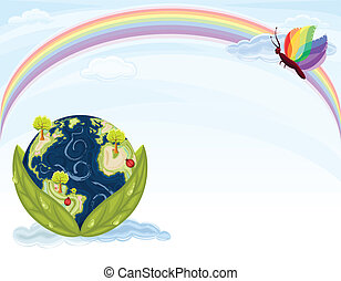 Green Earth - preserving our beautiful Nature. Planet Earth inside green leaves with blue sky and rainbow. Vector file saved as EPS AI8, no effects, easy edit and print.