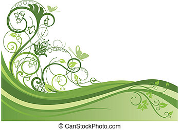 Green floral border design vector illustration