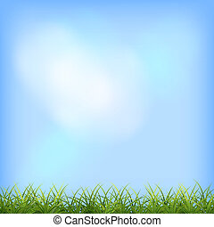 Green grass and blue sky natural background. Vector summer day rural scene