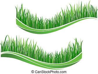 Green grass waves isolated on white background