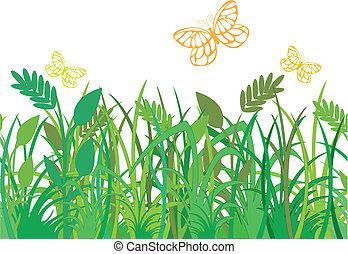 green grass with butterflies