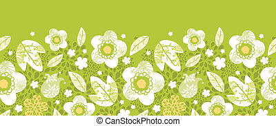 Vector green kimono florals horizontal seamless pattern background ornament with hand drawn colorful flowers.