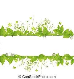 Green Leafs And Grass, Isolated On White Background, Vector Illustration