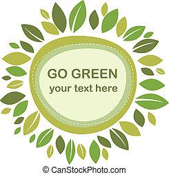 Green leaves retro frame