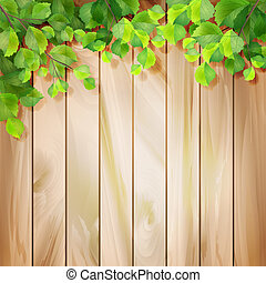 Green leaves on a wood texture. Vector background