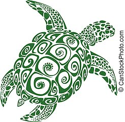 Green sea turtle (Konu), stylized illustration