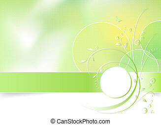 Green floral background, suitable for spring themes.