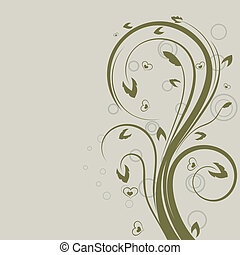 Green swirly floral vector design element with copy space.