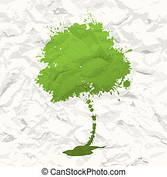 Abstract green tree. Crumpled paper