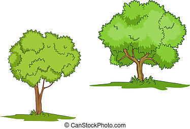 Green trees with grass isolated on white background