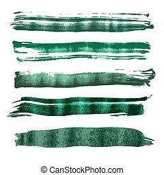 Green watercolor brush vector strok