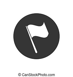 Grey Flag icon isolated on grey background. Vector