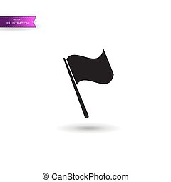 Grey Flag icon isolated on white background. Vector