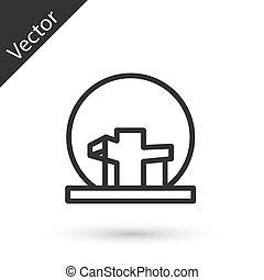 Grey line Montreal Biosphere icon isolated on white background. Vector.