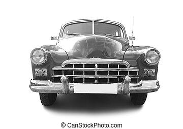 grey retro automobile isolated on white background