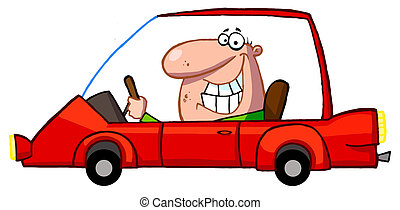 Cartoon Character Happy Man Drives Sports Car