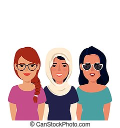 group of beautiful women isolated icon