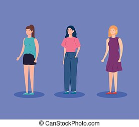 group women avatar character icon