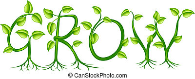 The word grow spelled out with a plant or vines with leaves growing into the letters