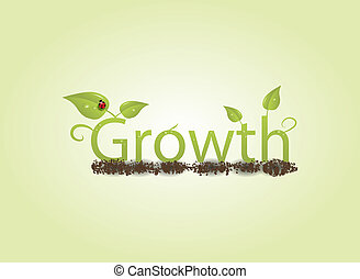 Growth concept with leaves ladybug dirt water droplet