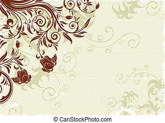 Grunge floral frame with bud, element for design, vector illustration