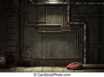 grunge interior room of an abandoned industrial warehouse showing a concrete wall with lots of pipes, stairs and a garbage can