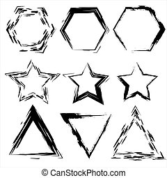 Grunge shapes. Star, triangle, hexagon. Set of Hand Drawn , vector design elements