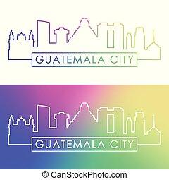 Guatemala city skyline. Colorful linear style.