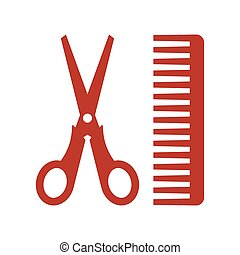 hair salon with scissors and comb icon