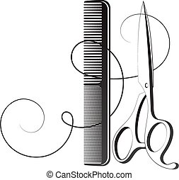 Hair stylist scissors and comb with curl hair silhouette