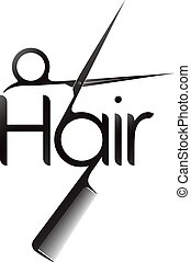 Hair symbol with scissor and comb