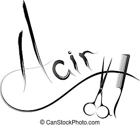 Hair symbol with scissors and comb