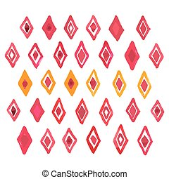 Hand draw aquarelle watercolor art paint red rhombus geometric pattern Vector illustration
