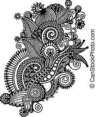 Hand draw black and white line art ornate flower design. Ukrainian traditional style