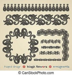black flower design element