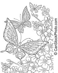 Hand drawn butterflies and flowers