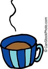 Hand drawn cartoon vector sketch cup of tea coffee doodle icon
