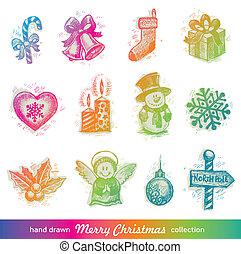 Hand drawn Christmas holiday vector set