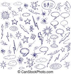 hand drawn graffiti and cartoon doodles