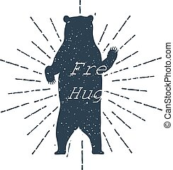 """Hand drawn label grizzly bear vector illustration and """"Free Hugs!"""" inspirational lettering."""