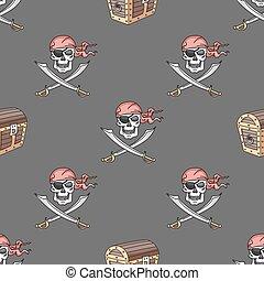 Hand drawn pirate seamless pattern
