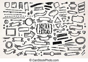 Hand drawn pen sketch elements. Vector illustration.